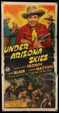1r970 UNDER ARIZONA SKIES 3sh '46 great images of cowboy Johnny Mack Brown & Reno Browne!
