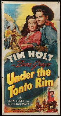 1r971 UNDER THE TONTO RIM 3sh '47 art of cowboy Tim Holt & Nan Leslie, from Zane Grey's story!