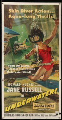 1r972 UNDERWATER 3sh '55 Howard Hughes, sexiest artwork of skin diver Jane Russell!