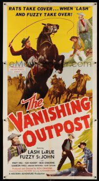1r975 VANISHING OUTPOST 3sh '51 rats take cover when Lash LaRue & Fuzzy St. John take over!
