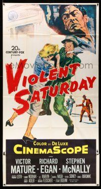 1r977 VIOLENT SATURDAY 3sh '55 art of girl pistol-whipped, Victor Mature, Richard Fleischer