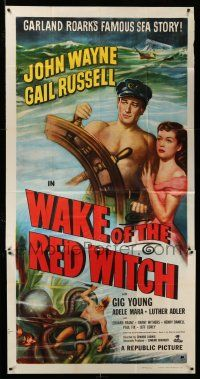 1r980 WAKE OF THE RED WITCH 3sh R52 art of barechested John Wayne & Gail Russell at sea!