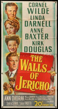 1r982 WALLS OF JERICHO 3sh '48 artwork of Cornel Wilde, Darnell, Ann Baxter & Kirk Douglas