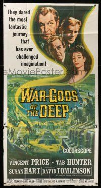1r984 WAR-GODS OF THE DEEP 3sh '65 Vincent Price, Jacques Tourneur sci-fi, cool Reynold Brown art!