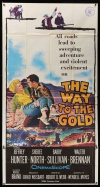 1r985 WAY TO THE GOLD 3sh '57 great image of Jeffrey Hunter carrying wounded Sheree North!