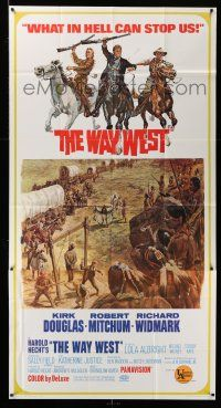1r986 WAY WEST 3sh '67 Kirk Douglas, Robert Mitchum, Richard Widmark, art of frontier justice!