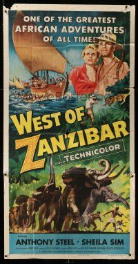 1r987 WEST OF ZANZIBAR 3sh '54 Anthony Steel, Ealing Studios Africa safari, cool elephant art!