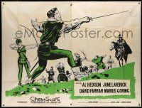 1r002 SON OF ROBIN HOOD English 61x81 '59 art of Al Hedison lunging with sword in battle!