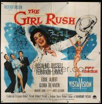 1r126 GIRL RUSH 6sh '55 artwork of sexy showgirl Rosalind Russell in Las Vegas!