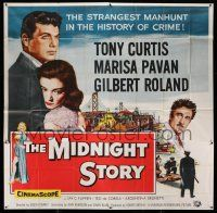 1r151 MIDNIGHT STORY 6sh '57 Tony Curtis in the strangest San Francisco manhunt in crime's history!