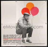 1r161 ONE, TWO, THREE 6sh '62 c/u of director Billy Wilder sitting with balloons, Saul Bass art!
