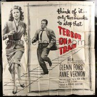 1r202 TIME BOMB 6sh '53 Terror on a Train, art of Glenn Ford & Anne Vernon in explosive action!