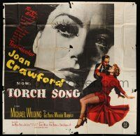 1r204 TORCH SONG 6sh '53 different huge image of tough baby Joan Crawford, a wonderful love story!