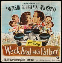 1r212 WEEK END WITH FATHER 6sh '51 wacky art of Van Heflin & Patricia Neal kissing in car w/family