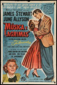 1r300 GLENN MILLER STORY Argentinean '54 art of James Stewart in the title role with June Allyson!