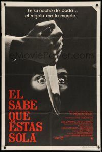 1r307 HE KNOWS YOU'RE ALONE Argentinean '80 different image of scared eyes staring at knife!