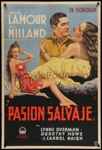 1r309 HER JUNGLE LOVE Argentinean '38 romantic art of sexy Dorothy Lamour in sarong & Ray Milland!
