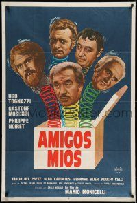 1r361 MY FRIENDS Argentinean '76 Mario Monicelli, Ugo Tognazzi, wacky jack-in-the-box artwork!
