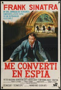 1r363 NAKED RUNNER Argentinean '67 different art of Frank Sinatra running from men in tunnel!