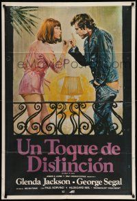 1r407 TOUCH OF CLASS Argentinean '73 different Aler art of George Segal & Glenda Jackson arguing!