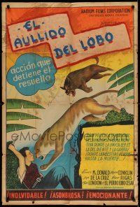 1r408 TRAILING THE KILLER Argentinean '32 great artwork of dog saving man from mountain lion!
