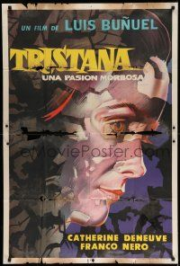 1r410 TRISTANA Argentinean '70 Luis Bunuel, wonderful super close up artwork of Catherine Deneuve!