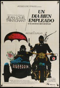 1r412 UNE JOURNEE BIEN REMPLIE Argentinean '73 directed by Trintignant, Ferracci motorcycle art!