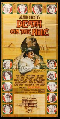 1r008 DEATH ON THE NILE English 3sh '78 Peter Ustinov by Sphinx + cast portraits, Agatha Christie