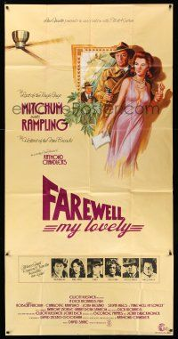 1r009 FAREWELL MY LOVELY English 3sh '75 cool different art of Robert Mitchum & Charlotte Rampling!