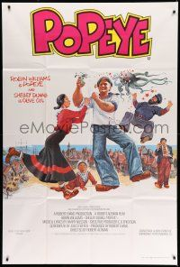 1r003 POPEYE English 40x60 '80 Robert Altman, art of Robin Williams & Shelley Duvall, E.C. Segar