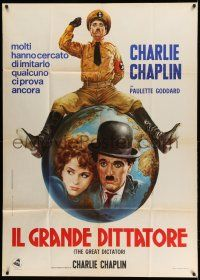 1r530 GREAT DICTATOR Italian 1p R1970s best art of Charlie Chaplin as Hynkel by Renato Casaro!
