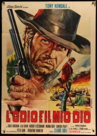 1r540 HATE IS MY GOD Italian 1p '69 spaghetti western art of Tony Kendall with gun, great title!