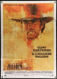 1r610 PALE RIDER Italian 1p '85 great artwork of cowboy Clint Eastwood by C. Michael Dudash!