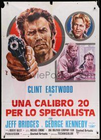 1r683 THUNDERBOLT & LIGHTFOOT Italian 1p '74 different Avelli artwork of Clint Eastwood with gun!