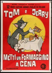 1r686 TOM & JERRY Italian 1p '69 cat & mouse cartoon, more violent Nano art than U.S. posters!