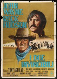 1r688 UNDEFEATED Italian 1p '69 great Franco Fiorenzi art of John Wayne & Rock Hudson!