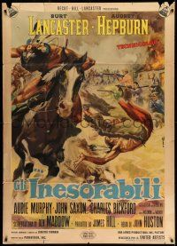 1r689 UNFORGIVEN Italian 1p '60 John Huston, different epic battle art by Averardo Ciriello!