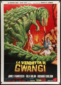 1r694 VALLEY OF GWANGI Italian 1p '69 cool different art of man & woman w/dinosaur by Franco!