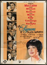 1r698 WHAT A WAY TO GO Italian 1p '64 Nistri art of Shirley MacLaine, Newman, Martin & co-stars!