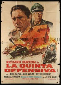 1r038 BATTLE OF SUTJESKA Italian 2p '73 art of Richard Burton & Nazi swastika over WWII battle!