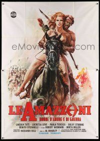 1r039 BATTLE OF THE AMAZONS Italian 2p '73 art of sexy naked female warrior Lucretia Love on horse!