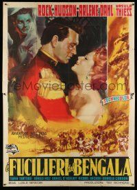1r040 BENGAL BRIGADE Italian 2p '54 different art of Rock Hudson about to kiss Arlene Dahl!