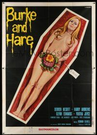 1r044 BURKE & HARE Italian 2p '73 wild Luca Crovato art of naked blonde in casket with price tag!