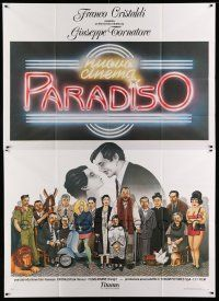 1r046 CINEMA PARADISO Italian 2p '89 different art of Philippe Noiret & cast by Cecchini!