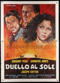 1r052 DUEL IN THE SUN Italian 2p R77 Jennifer Jones, Gregory Peck & Joseph Cotten, different art!