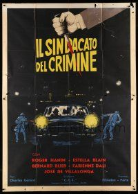 1r054 ENEMY IN THE SHADOWS Italian 2p '60 completely different art of criminals by Borghesi!