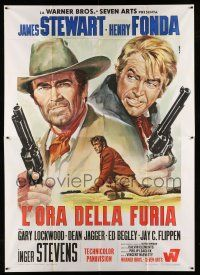 1r057 FIRECREEK Italian 2p '68 different Renato Casaro art of James Stewart & Henry Fonda!