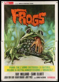 1r058 FROGS Italian 2p '72 art of man-eating amphibian with human hand in mouth by Enzo Sciotti!