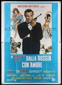 1r059 FROM RUSSIA WITH LOVE Italian 2p R70s Ciriello art of Connery as James Bond w/ sexy girls!