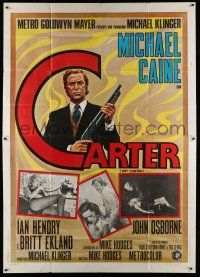 1r060 GET CARTER Italian 2p '71 cool art of Michael Caine holding shotgun + inset photos!